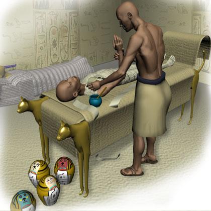 ترميم سرير فرعوني يستخدم فى عملية التحنيط داخل مقبرة رقم 63