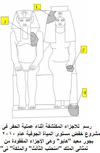 العثور على أهم 6 قطع جديدة لتمثال أمنحتب الثالث وزوجته