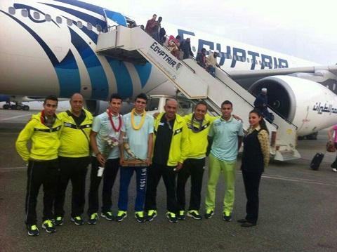 وصول المنتخب المصري بطل العالم للإسكواش