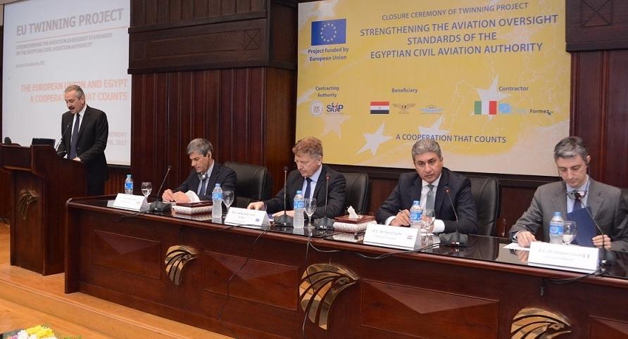 ختام مشروع التوأمة بين سلطتي الطيران المدني المصري والإيطالي