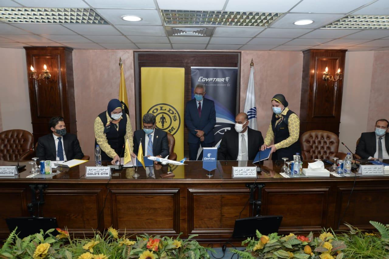 مصرللطيران توقع بروتوكول تعاون مع Gold's Gym لتشجيع الرياضة فى مصر